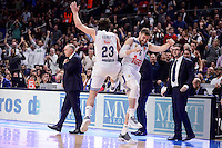 Real Madrid's Sergio Llull and Andres Nocioni during Turkish Airlines Euroleague match between Real Madrid and CSKA Moscow at Wizink Center in Madrid, Spain. January 06, 2017. (ALTERPHOTOS/BorjaB.Hojas)
