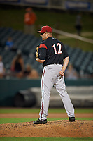 Richmond Flying Squirrels pitcher Sam Wolff (12) during an Eastern League game against the Bowie Baysox on August 15, 2019 at Prince George's Stadium in Bowie, Maryland.  Bowie defeated Richmond 4-3.  (Mike Janes/Four Seam Images)