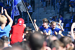 20.04.2019, Carl Benz Stadion, Mannheim, GER, RL Sued, SV Waldhof Mannheim vs. VfR Wormatia Worms, <br /> <br /> DFL REGULATIONS PROHIBIT ANY USE OF PHOTOGRAPHS AS IMAGE SEQUENCES AND/OR QUASI-VIDEO.<br /> <br /> im Bild: von links: Maurice Deville (SV Waldhof Mannheim #14), Jannik Sommer (SV Waldhof Mannheim #20) und Marcel Seegert (SV Waldhof Mannheim #5) jubeln ueber den Aufstieg inmitten der Fans<br /> <br /> Foto © nordphoto / Fabisch
