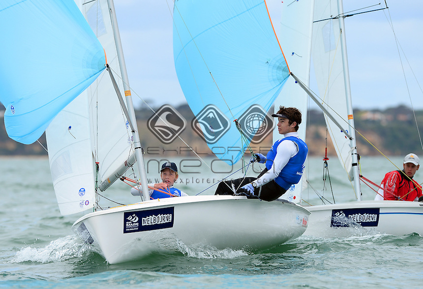 420 / Finn GILBERT &amp; Louie COLLINS (AUS)<br /> 2013 ISAF Sailing World Cup - Melbourne<br /> Sail Melbourne - The Asia Pacific Regatta<br /> Sandringham Yacht Club, Victoria<br /> December 1st - 8th 2013<br /> &copy; Sport the library / Jeff Crow
