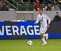 CARSON, CA - March 17, 2012: Vancouver Whitecaps FC midfielder Lee Young-Pyo (12) during the Chivas USA vs Vancouver Whitecaps FC match at the Home Depot Center in Carson, California. Final score Vancouver Whitecaps 1, Chivas USA 0.