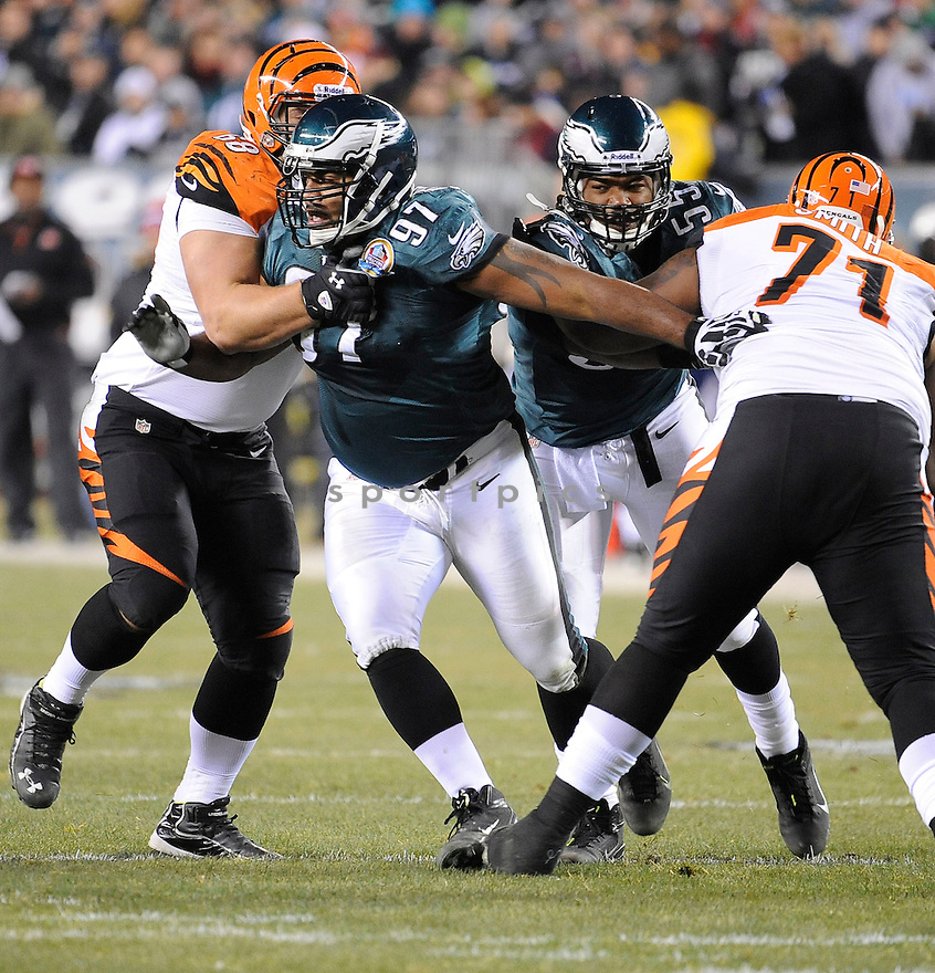 Philadelphia Eagles Cullen Jenkins (97) in action during a game against the Bengals on December 13, 2012 at Lincoln Financial Field in Philadelphia, PA. The Bengals beat the Eagles 34-13.