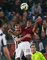 Giorgio Chiellini  fight for the ball with  Seydou Keita  during the Italian Serie A soccer match between   AS Roma and Juventus FC       at Olympic Stadium      in Rome ,March 02 , 2015