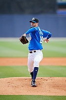 Biloxi Shuckers starting pitcher Jorge Lopez (28) delivers a pitch during a game against the Jackson Generals on April 23, 2017 at MGM Park in Biloxi, Mississippi.  Biloxi defeated Jackson 3-2.  (Mike Janes/Four Seam Images)