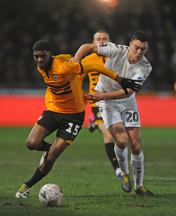Middlesbrough's Dael Fry battles with Newport County's Tyreeq Bakinson<br /> <br /> Photographer Ian Cook/CameraSport<br /> <br /> Emirates FA Cup Fourth Round Replay - Newport County v Middlesbrough - Tuesday 5th February 2019 - Rodney Parade - Newport<br />  <br /> World Copyright &copy; 2019 CameraSport. All rights reserved. 43 Linden Ave. Countesthorpe. Leicester. England. LE8 5PG - Tel: +44 (0) 116 277 4147 - admin@camerasport.com - www.camerasport.com