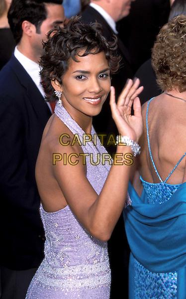 HALLE BERRY.oscars.sales@capitalpictures.com.www.capitalpictures.com.©Capital Pictures.smiling, waving, pink dress, halter neck, diamond bracelet, diamond earrings
