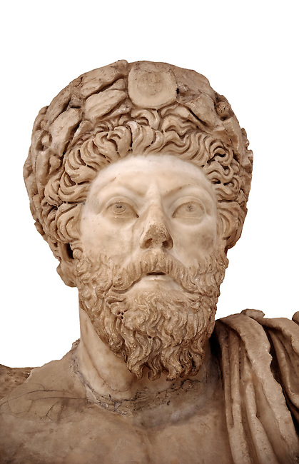 Roman sculpture of the Emperor Marcus Aurelius, excavated from Bulla Regia Theatre, sculpted circa late second century. The Bardo National Museum, Tunis.  Against a white background.