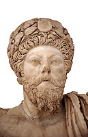 Roman sculpture of the Emperor Marcus Aurelius, excavated from Bulla Regia Theatre, sculpted circa late second century. The Bardo National Museum, Tunis.  Against a white background.