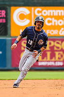 San Antonio Missions infielder Tyler Saladino (13) runs to third base during a Pacific Coast League game against the Iowa Cubs on May 2, 2019 at Principal Park in Des Moines, Iowa. Iowa defeated San Antonio 8-6. (Brad Krause/Four Seam Images)