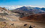 The crater of Mount Haleakala, the dormant volcano that forms most of the eastern portion of the island of Maui