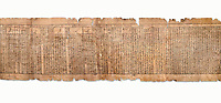 "Ancient Egyptian Book of the Dead papyrus - Spell 81a assuming the form of a lotus associated with the sun god, Iufankh's Book of the Dead, Ptolemaic period (332-30BC).Turin Egyptian Museum. White Background<br /> <br /> The spell reads "" I am a pure lotus that has ascended by the Sinlight and ia at Ra's nose. I spend my time shedding it on Horus. I am the pure lotus that ascended from the field"". <br /> <br /> The translation of  Iuefankh's Book of the Dead papyrus by Richard Lepsius marked a truning point in the studies of ancient Egyptian funereal studies."