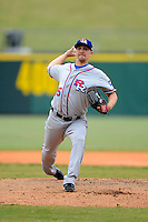 Round Rock Express pitcher Ross Wolf #15 during a game against the New Orleans Zephyrs on April 15, 2013 at Zephyr Field in New Orleans, Louisiana.  New Orleans defeated Round Rock 3-2.  (Mike Janes/Four Seam Images)