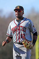 Quad Cities River Bandits outfielder Ronnie Dawson (12) during a Midwest League game against the Wisconsin Timber Rattlers on April 8, 2017 at Fox Cities Stadium in Appleton, Wisconsin.  Wisconsin defeated Quad Cities 3-2. (Brad Krause/Four Seam Images)
