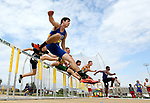 FARGO, ND - MAY 12: Jake Lieberg from South Dakota State clears a hurdle during the men's 110 meter hurdle prelims at the 2017 Summit League Outdoor Championship Friday afternoon at Ellig Sports Complex in Fargo, ND. (Photo by Dave Eggen/Inertia)