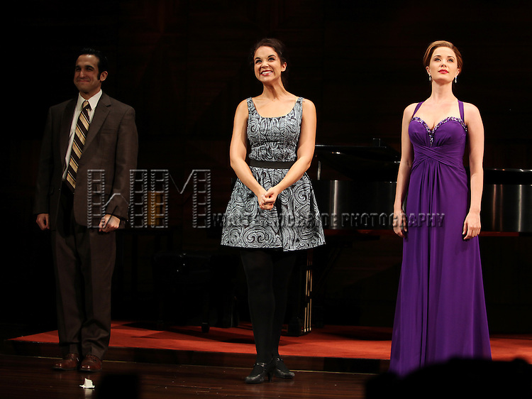 Tyne Daly as Maria Callas with Jeremy Cohen, Alexandra Siber, Sierra Boggess.at the Opening Night Performance Curtain Call for The Manhattan Theatre Club's  'Master Class' at the Samuel J. Friedman Theatre in New York City.