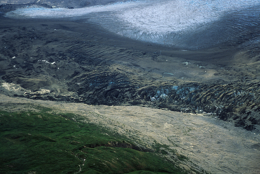 A detail of Lowell Glacier in Kluane National Park, Yukon Territory, Canada.<br /> <br /> Lowell Glacier is approximately 70 km long and averages 5 km wide. The glacier terminates at 600 m elevation in Lowell Lake, about 60 km southwest of Haines Junction, Yukon. The Alsek River flows into Lowell Lake from the north and exits the south end of the lake.