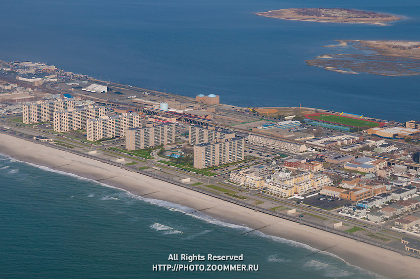 Aerial view of Jamaica bay Ocean promenade in Queens, NY