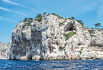 A huge limestone cliff on the Mediterranean coast of France, among the Calanques between Marseille and Cassis.