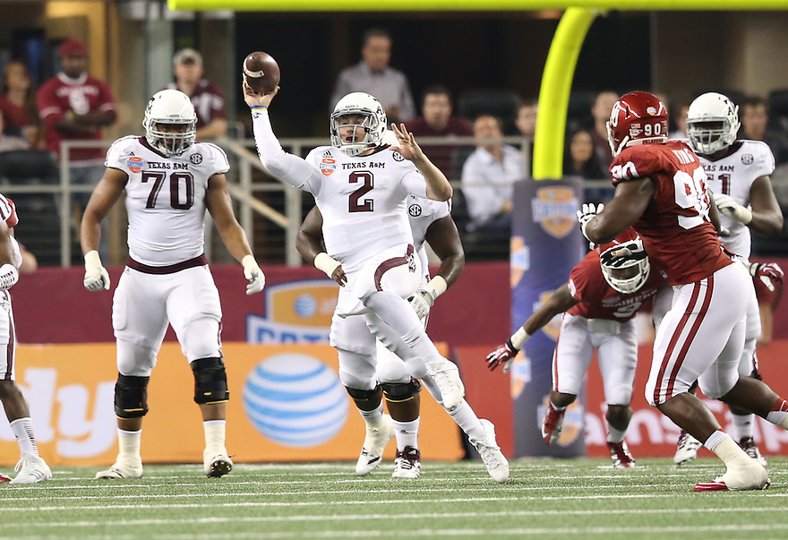 Jan 4, 2013; Arlington, TX, USA; Texas A&M Aggies quarterback Johnny Manziel (2) throws a pass against the Oklahoma Sooners during the Cotton Bowl at Cowboys Stadium.  Mandatory Credit: Tim Heitman-USA TODAY Sports