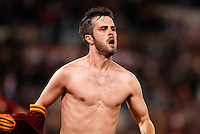 Calcio, Serie A: Roma vs Milan. Roma, stadio Olimpico, 25 aprile 2014.<br /> AS Roma midfielder Miralem Pjanic, of Bosnia, celebrates after scoring during the Italian Serie A football match between AS Roma and AC Milan at Rome's Olympic stadium, 25 April 2014.<br /> UPDATE IMAGES PRESS/Riccardo De Luca