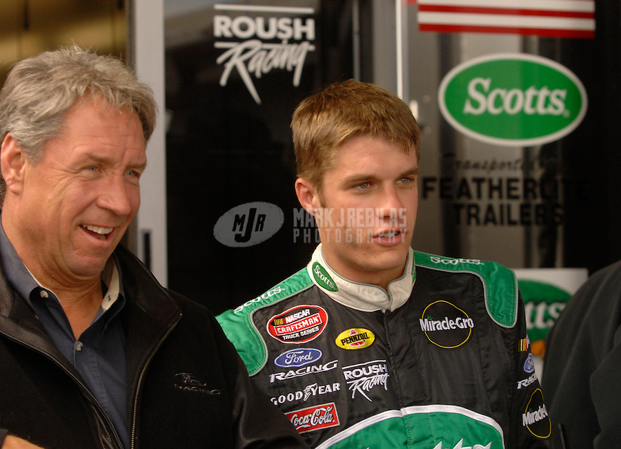 Nov 3, 2006; Fort Worth, TX, USA; Nascar Craftsman Truck Series driver David Ragan (6) with crew chief Jimmy Fenning during the Silverado 350 at Texas Motor Speedway. Mandatory Credit: Mark J. Rebilas