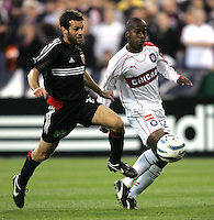 9 April 2005. DC United's Ben Olsen (14) takes the ball from Thiago (29) of the Chicago Fire  at RFK Stadium in Washington, DC.