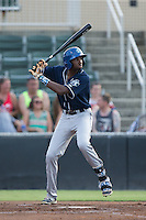 Wes Rogers (24) of the Asheville Tourists at bat against the Kannapolis Intimidators at Intimidators Stadium on June 25, 2015 in Kannapolis, North Carolina.  The Intimidators defeated the Tourists 9-8.  (Brian Westerholt/Four Seam Images)