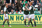 Hibs v St Johnstone...25.08.12   SPL.Eoin Doyle celebrates his goal with Tim Clancy.Picture by Graeme Hart..Copyright Perthshire Picture Agency.Tel: 01738 623350  Mobile: 07990 594431