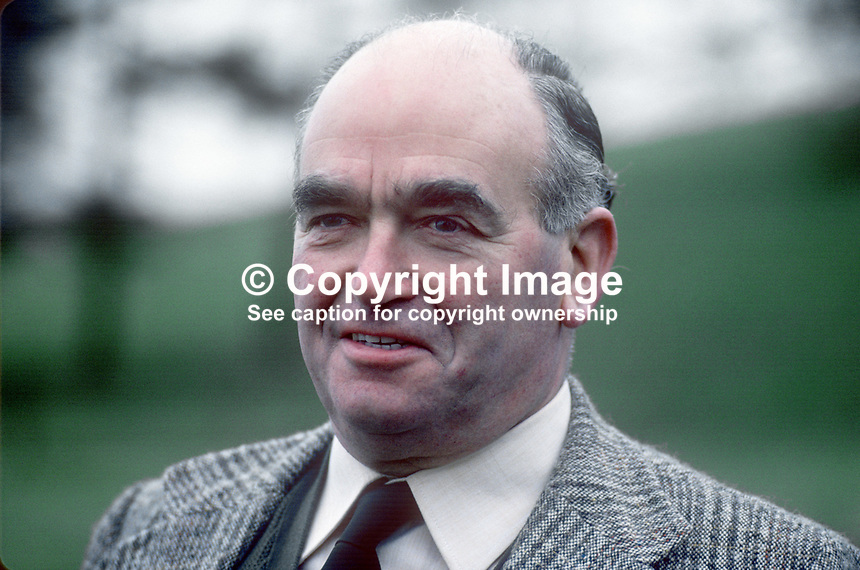 Harry West, leader, 1974 to 1979, Ulster Unionist Party, N Ireland, 197803000107a.<br />