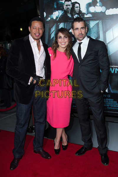 Terrence Howard, Noomi Rapace & Colin Farrell.The premiere of FilmDistricts's 'Dead Man Down' at ArcLight Hollywood, Hollywood, California, USA..February 26th, 2013.full length suit gloves jeans denim jacket white pink shirt black goatee facial hair dress tie  hat veil .CAP/ADM/JS.©John Salangsang/AdMedia/Capital Pictures.