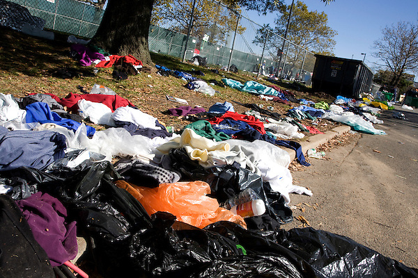 Discarded clothing and other trash litters the Athletes Village where runners waited and prepared for the start of the ING New York City Marathon on Staten Island on 07 November 2010.