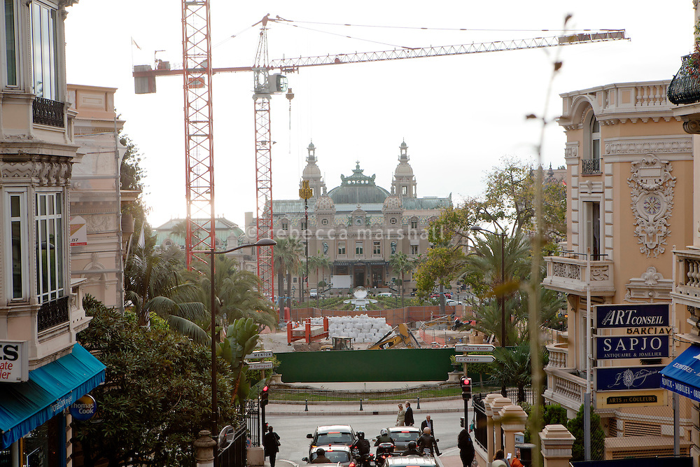 View of the Monte Carlo Casino and the construction site in the gardens in front of Casino Square, which is part of the urban development project to demolish and replace the Sporting d'Hiver with a new commercial space, Casino Square, Monaco, 18 October 2013