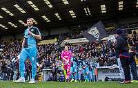 Paul Hayes of Wycombe Wanderers leads his team out during the Sky Bet League 2 match between Notts County and Wycombe Wanderers at Meadow Lane, Nottingham, England on 28 March 2016. Photo by Andy Rowland.