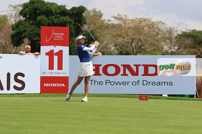 Alison Lee (ENG) on the 11th tee during Round 1 of the Honda LPGA Thailand on Thursday 23rd February 2017.<br /> Picture:  Thos Caffrey / Golffile
