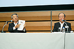 (L to R) Showa Shell Sekiyu KK President Tsuyoshi Kameoka and Idemitsu Kosan Co President Takashi Tsukioka, speak during a news conference on May 9, 2017, Tokyo, Japan. The two oil distributors announced a business alliance to consolidate their refining and supply operations. Despite opposition from Idemitsu's founding family, the companies signed the agreement today and it will take immediate effect under the banner ''Brighter Energy Alliance.'' (Photo by Rodrigo Reyes Marin/AFLO)