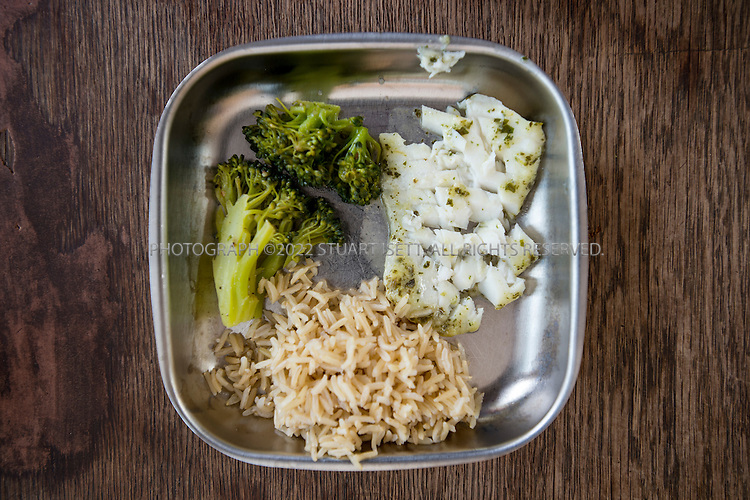 5/29/2012--Seattle, WA, USA..Eden Mack, 39, twin sons suffer from serious allergies to eggs and nuts. ..Here, Eden feeds her children talipia, brown rice and broccoli for dinner...©2012 Stuart Isett. All rights reserved.