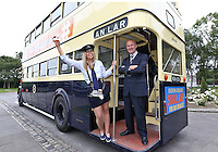 "***NO REPRODUCTION FEE***25/05/14 Conductor Jane Kendlin from Clontarf and Dublin Port CEO Eamonn O'Reilly are pictured with a 1961 CIE Leyland PD3 double decker at the announcement of the inaugural Dublin ""Vintage Port"" Rally which will take place on Sunday 28th September 2014. Veteran, Vintage and Classic private and commercial vehicles from all over Ireland will gather at Dublin Port for this major event, further details of which are available at www.dublinportrally.com Picture Colin Keegan, Collins Dublin. ***NO REPRODUCTION FEE**"