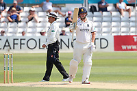 Liam Banks of Warwickshire raises his bat to celebrate reaching his fifty during Essex CCC vs Warwickshire CCC, Specsavers County Championship Division 1 Cricket at The Cloudfm County Ground on 16th July 2019