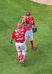 7 September 2014: Washington Nationals pitcher Drew Storen is greeted by catcher Jose Lobaton after closing out the game against the Philadelphia Phillies at Nationals Park in Washington, DC. The Nationals defeated the Phillies 3-2 to salvage the final game of their 3-game series. Mandatory Credit: Ed Wolfstein Photo *** RAW (NEF) Image File Available ***