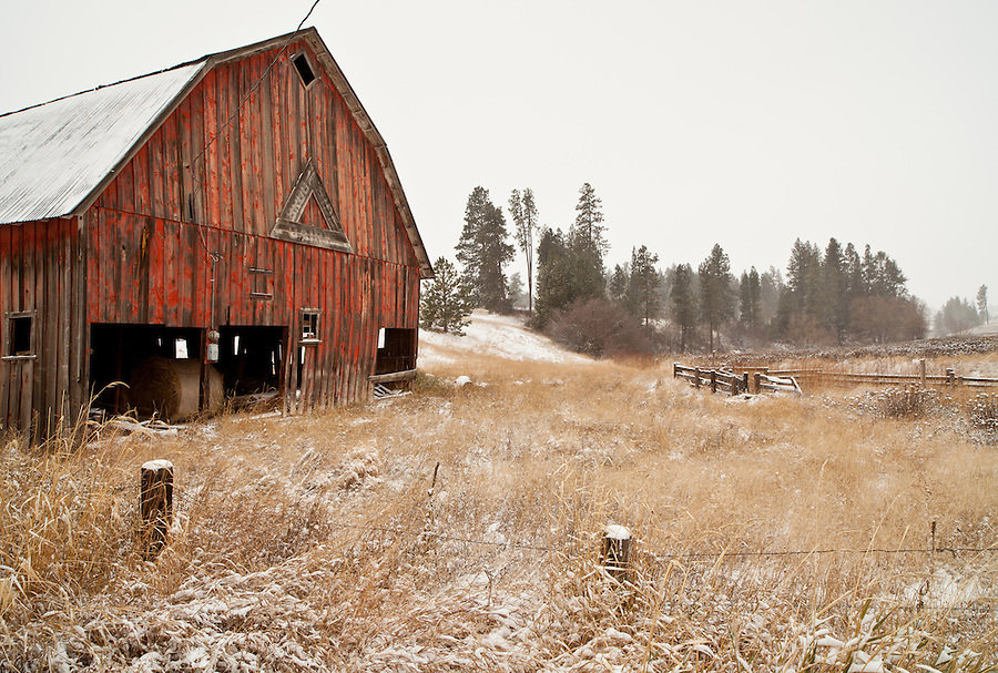 A red barn sits among a snowy field in the Palouse of Washington State.