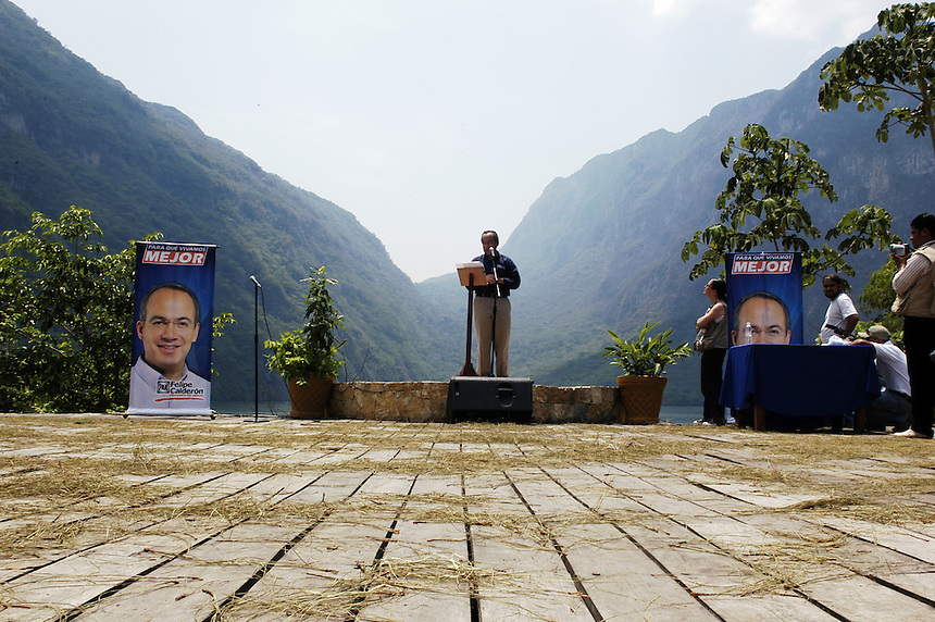 Felipe Calderon addresses supporters on environmental conservation at the Sumidero Canyon park. Friday's visit to the park was part of Calderon's campaign tour of the state of Chiapas. Calderon is surging ahead in the Mexican presidential elections.