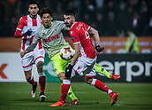 7th December 2017, Rajko Mitic Stadium, Belgrade, Serbia, UEFA Europa League football, Red Star Belgrade versus FC Cologne; Forward Yuya Osako of FC Koeln shoots on the goal past Damien Le Tallec of Red Star Belgrade