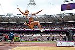 Engeland, London, 4 Augustus 2012.Olympische Spelen London.De Poolse Meerkampster Karolina TYMINSKA schakelt zich zelf uit door drie keer fout te springen