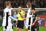 10.03.2018, BayArena, Leverkusen , GER, 1.FBL., Bayer 04 Leverkusen vs. Borussia Moenchengladbach<br /> im Bild / picture shows: <br /> Meinungsverschiedenheit Schiedsrichter, referee Robert Hartmann (SR)Denis Zakaria (Gladbach #8), verdeckt und Jannik Vestergaard (Gladbach #4),  <br /> <br /> <br /> Foto © nordphoto / Meuter
