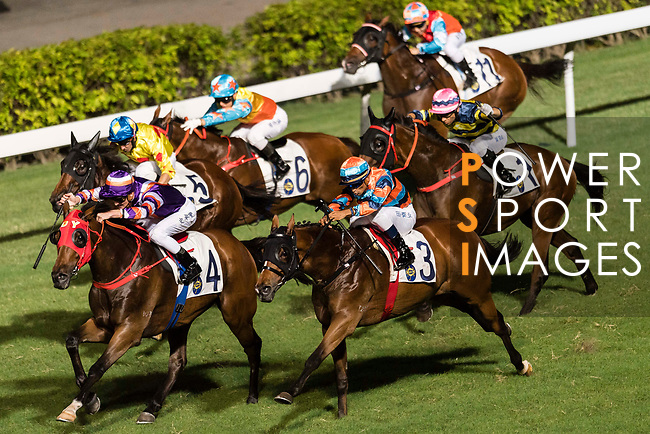 Jockey Chad Schofield riding Crown Avenue leading the race 5 during Hong Kong Racing at Happy Valley Racecourse on September 13, 2017 in Hong Kong, China. Photo by Marcio Rodrigo Machado / Power Sport Images