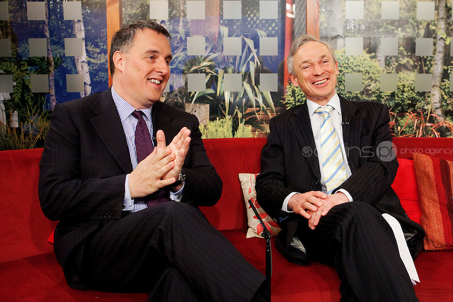 NO REPRO FEE. 7/4/2011. Minister Richard Bruton launches TV3's 'Every Job Counts' campaign.  The Minister for Enterprise, Jobs and Innovation, Richard Bruton and TV3 Chief Executive David McRedmond are pictured at TV3 Studios during an interview for Ireland am in order to launch TV3's new campaign - Every Job Counts'  which aims to highlight and publicise Irish based companies which are creating new jobs in these tough economic times. During April TV3 will highlight the Trojan work undertaken by thousands of Irish businesses which strive to exploit the opportunities which can come out of economic decline and stagnation and which endeavor to grow turnover and employment. Businesses big and small are urged to log onto TV3.ie/Everyjobcounts  and tell us how many jobs they have created recently or over the past 12 months and how they managed to do it against all the odds. The most inspiring stories will be filmed and broadcast on TV3's News at 5.30, Ireland am and Midweek during the month. As a further source of assistance and help, TV3 will offer a EUR50,000 advertising and promotional bursary for the most inspiring story of job creation we receive over the course of the month. Details on how to enter TV3's Every Job Counts campaign can be found at:  www.tv3.ie/everyjobcounts Picture James Horan/Collins Photos