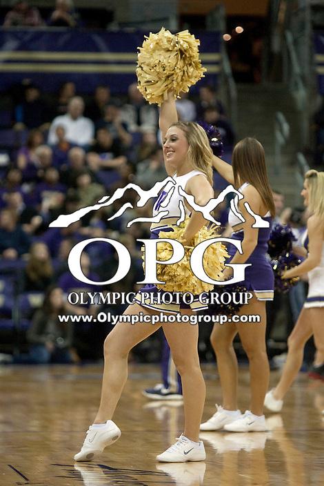 Dec 29, 2011:  Washington cheerleader Sarah Madsen entertained fans during a timeout against Oregon State.  Washington defeated Oregon State 95-80 at Alaska Airlines Arena Seattle, Washington...
