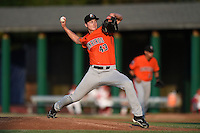 Aberdeen IronBirds pitcher Matthew Grimes (43) delivers a pitch during a game against the Williamsport Crosscutters on August 4, 2014 at Bowman Field in Williamsport, Pennsylvania.  Aberdeen defeated Williamsport 6-3.  (Mike Janes/Four Seam Images)