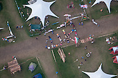 """Scouts forming """"UK!"""" outside their camp during helicopter photoshoot."""