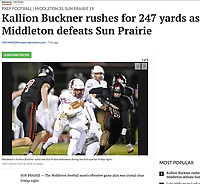 Middleton's Kallion Buckner runs through traffic in the first quarter, as Middleton tops Sun Prairie 35-19 in Wisconsin Big Eight Conference high school football on Friday, 10/11/19 at Ashley Field in Sun Prairie | Wisconsin State Journal article front page C1 Sports 10/12/19 and online at https://madison.com/wsj/sports/high-school/football/kallion-buckner-rushes-for-yards-as-middleton-defeats-sun-prairie/article_b4e6db49-ced6-52fb-a4d5-3133b3700d0c.html